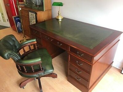 Large Green Leather Top Writing Desk & Chesterfield Captains Chair FREE UK P&P