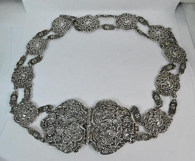 Huge 1901 Victorian Solid Silver 12 Section Buckle & Belt