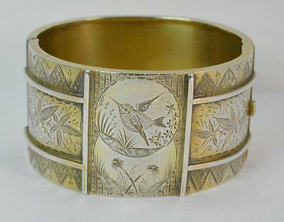 Victorian Aesthetic Movement Sterling Silver Gilt Bangle c1880