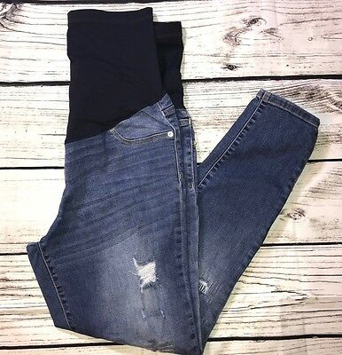 (M) Liz Lange Women Maternity Jean Ankle Skinny Distressed Wide Band Pull On