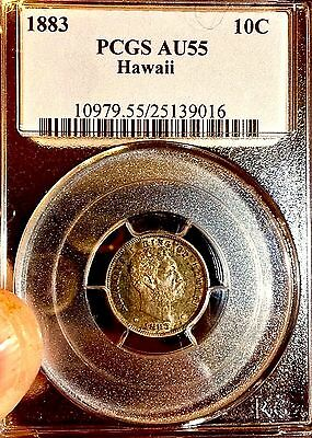 1883 Hawaii 10C Dime..PCGS AU 55..Rainbow! Sale 34% Off Bk $850 Reduced 7/19