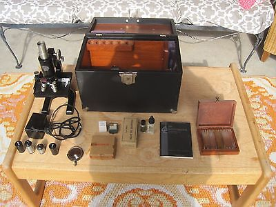 Vintage Spencer Microscope Original Wood Leather Box & Accessories 136799
