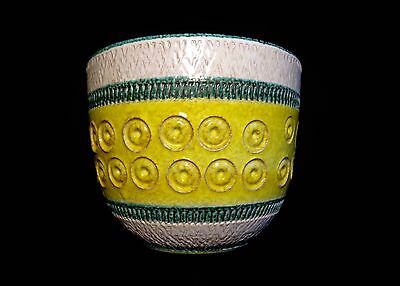 Aldo Londi Bitossi Italy Yellow/green Banded/stamped Art Pottery Ceramic Planter