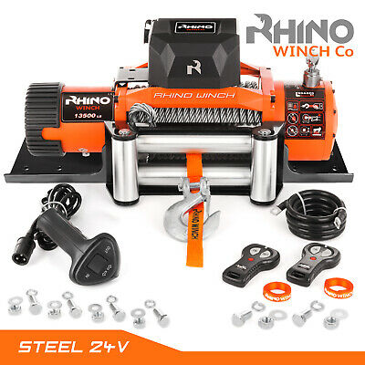 24v Electric Winch, 13500lb RHINO, Heavy Duty 4x4 Car Recovery + Mounting Plate