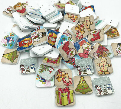 DIY Square Mix Christmas tree snowman Wooden Buttons Scrapbooking Sewing 15MM