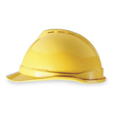 MSA Hard Hat,C,Yellow,4 pt. Ratchet, 10034020, Yellow