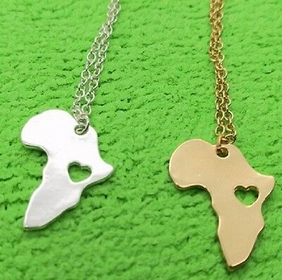 Small Silver Gold Love Africa Heart Map Necklace Pendant & Chain Rasta African