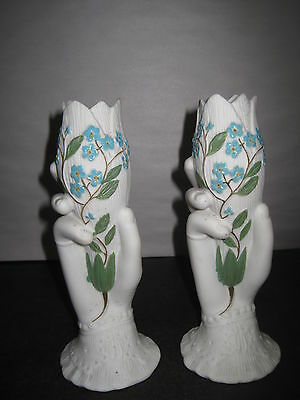 "Antique Vases Parian  With Hand Painted Blue Flowers 7 1/2"" Tall"