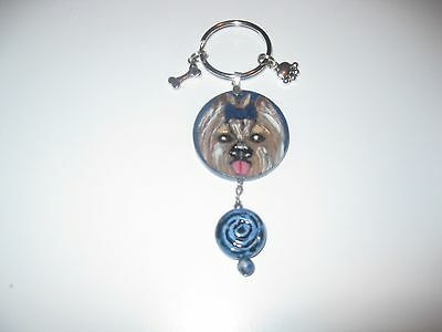 Hand Painted Wood Yorkshire Terrier Pendant Key Ring With Charms Free Ship Nwt!