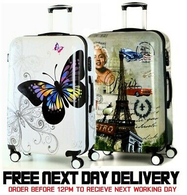 4 Wheel Spinner Printed Super Lightweight Hard Shell Suitcases Trolley Cases