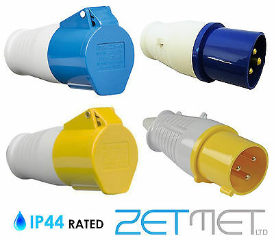Blue 16A 240V / Yellow 32A 110V 3 Pin Industrial Plugs or Connector Sockets IP44