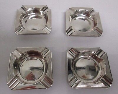 4 Matching Sterling Silver Ashtrays made by Stephen J Rose in 1931
