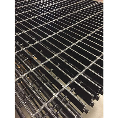 DIRECT METAL Black Painted Steel Bar Grating,Smooth,24In. W,1In. H, 20125S100-B4