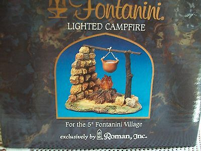 """Fontanini 5"""" Village Collection RARE RETIRED Lighted Campfire Displayed Twice"""
