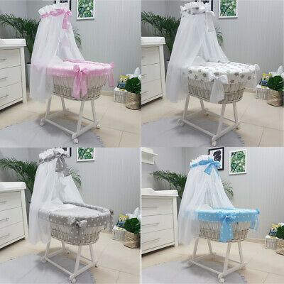 Tolo Wicker Moses Basket + Stand + Small Wheels + Bedding + Drape 7 Colours New
