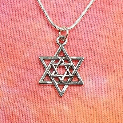 Double Magen David Necklace (Small version) Jewish Star of David Judaica Shield