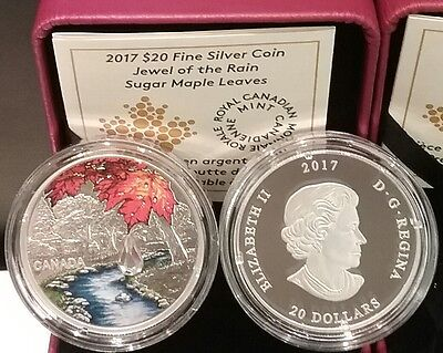 2017 Canada Maple Leaf Raindrop Crystal 1OZ $20 Pure Silver Proof Coin