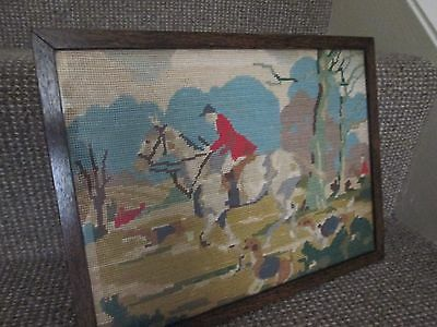 Vintage 1950`s Hunting Scene, Needlepoint Canvas, Tapestry Wall Hanging picture