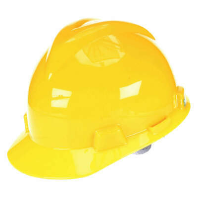 MSA Hard Hat,4 pt. Ratchet,Ylw, 477479, Yellow