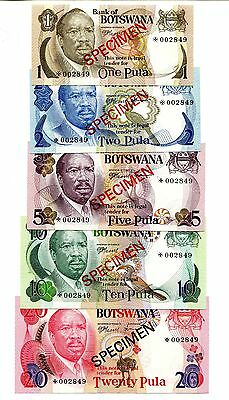 Botswana Specimen 5 Bank Notes 1979 - 1, 2, 5, 10, 20 Pula Lot