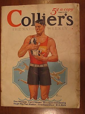 Collier's Magazine The National Weekly August 2 1930 Lifeguard Beach Vintage ADS