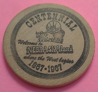 Nebraska Land ~ Wooden Nickel ~ Centennial 1867-1967 ~ Where The West Begins!