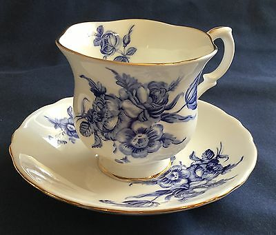 Crown Staffordshire Blue Floral Gold Trim Footed Tea Cup and Saucer