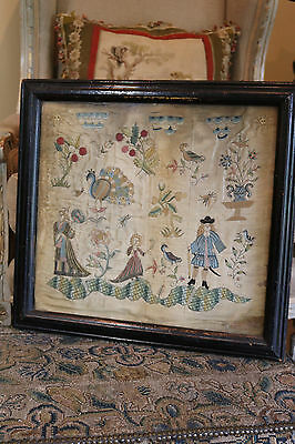 Chinese Embroidery on Silk European Subject Late 17th early 18th Century RARE