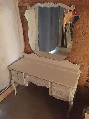 Vintage French Dressing Table With Large Mirror Shabby Chic Unusual
