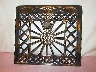 "Vintage Wall Furnace Heat Register Vent Cover - 16"" x 14"" - Copper & Black - d"