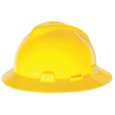 MSA Hard Hat,C, E,Yellow,4 pt. Ratchet, 475366, Yellow