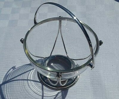 A Vintage Silver Plated Basket with Glass Bowl