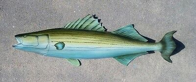 Striped Bass, painted from Palm Tree Frond Dolphin fish art nautical decor beach
