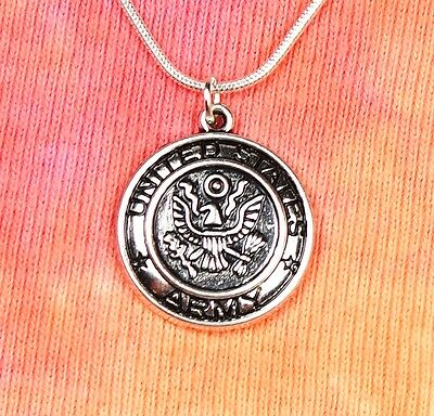 """US Army Necklace, United States Armed Services Military USA Charm Pendant 16-36"""""""