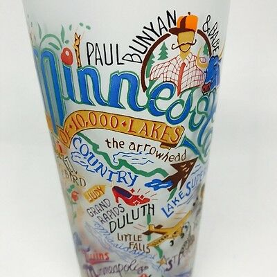 MINNESOTA Frosted Glass Tourist Travel 2004 Catstudio Retro Prince Twins Dylan
