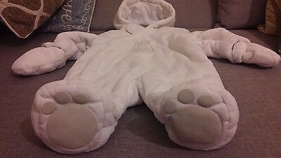 Mothercare baby white winter snowsuit unisex 0-3 months