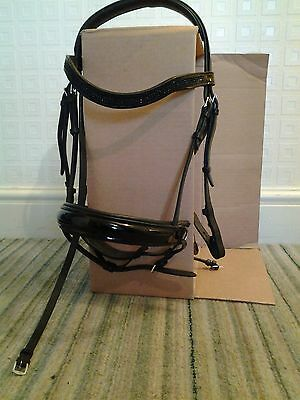 Black and patent full / x full size bridle