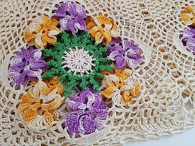 Vintage Hand Made CROCHETED LACE Tablecloth Violet Yellow Ombre PANSIES Coverlet