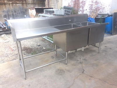 "2 Bowl Commercial 8' Sink NSF Stainless Steel Restaurant Double Well 96"" long"
