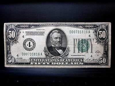 1928 $50 Federal Reserve Note ✪ Fine F ✪ Numerical Numeral 4 Cleveland ◢Trusted◣