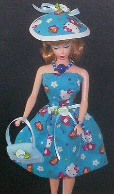 Hello Kitty Dress Handmade Vintage Silkstone Barbie Doll Clothes Hat Jewerly