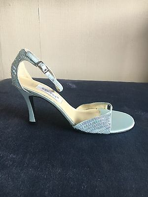 Brand New Sandals With Sequin Detail, Powder Blue, Size 7