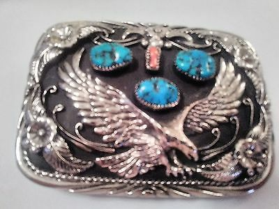 SSI nickel silver 3 turquoise nuggets 1 red coral eagle belt buckle