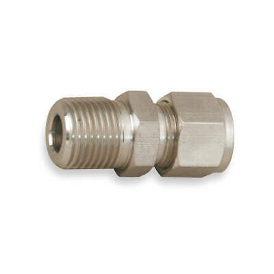 PARKER Straight Connector,SS,A-LOKxM,1/2Inx1In, 8MSC16N-316