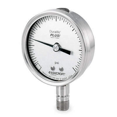 ASHCROFT Pressure Gauge,0 to 15 psi,2-1/2In,1/4In, 251009SW02LXLL15