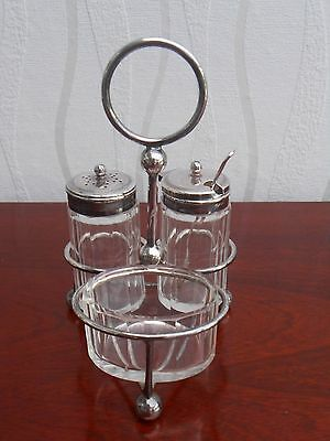 Silver Plated 3 Piece Cruet Set & Stand