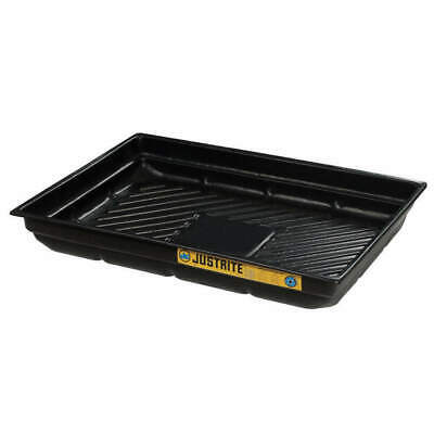 JUSTRITE Polyethylene Spill Tray,5-1/2 In. H,47-1/2 In. L, 28717, Black