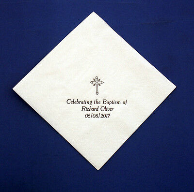 100 Personalised 33 cm 2 ply White Baptism Napkins. Printed in Gold or Silver