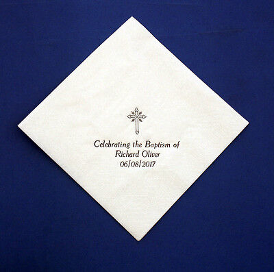 150 Personalised 33 cm 2 ply White Baptism Napkins. Printed in Gold or Silver