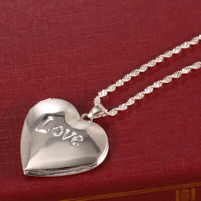 Women Fashion 925 Silver Necklace Chain Locket  Heart Pendant Jewelry Wedding